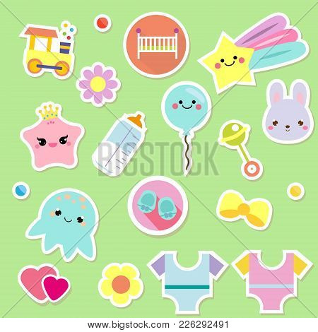 Baby Stickers. Kids, Children Design Elements For Scrapbook. Decorative Vector Icons With Toys, Clot