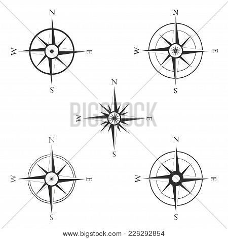 Set Of Various Icons Of Compass. Windrose, Navigation Symbol In Flat Style On White Background. Vect