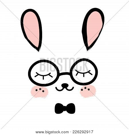 Cute Rabbit. Kawaii Bunny. Sweet Little Hare. Cartoon Animal Face. Print For Kids, Toddlers And Babi