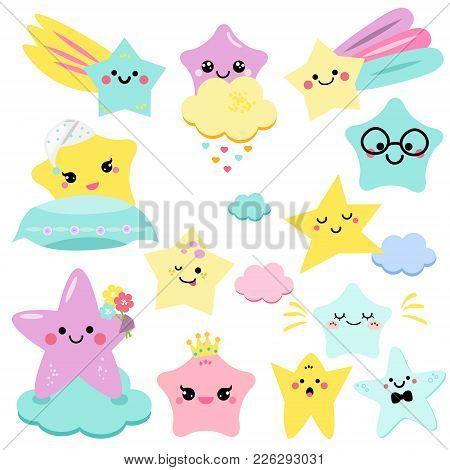 Cute Stars Vector Illustration For Kids. Isolated Design Children, Stickers. Baby Shower Little Star