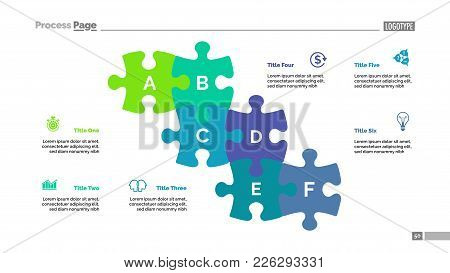 Puzzle Chart With Six Elements. Diagram, Slide, Template. Creative Concept For Infographics, Present