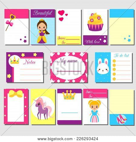 Cards, Sticky Notes, Stickers, Labels, Tags, With Cute Princess Characters. Template For Kids Scrapb