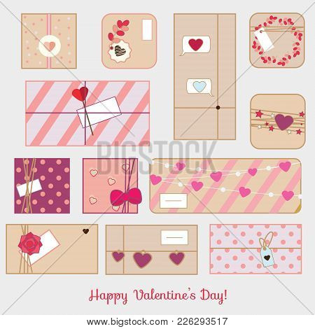 St Valentine's Day Gift Boxes. Romantic, Love Presents Set. Vector Line Icons
