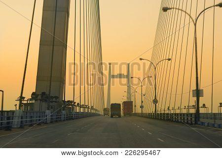 Kolkata, West Bengal , India - January 26th 2017 : Vidyasagar Setu (bridge) Over River Ganges, 2nd H