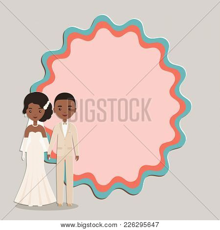 Cartoon Black, African American Groom, Bride With Space For Text. Vector. Animated Wedding Character
