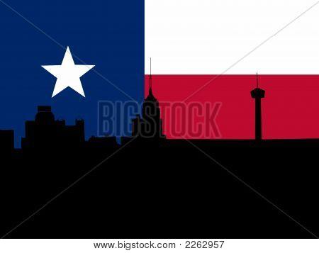 San Antonio With Flag