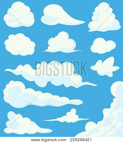 Cartoon Clouds Set On Blue Sky Background. Illustration Of A Collection Of Various Vector Cartoon Cl