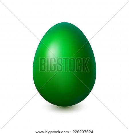 Acid Green Easter Egg On A White Background With A Light Shadow