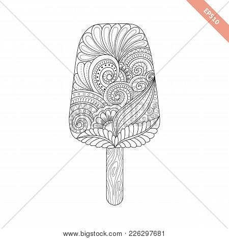Cartoon Hand Drawn Ice Cream With Floral Doodle Ornament. Coloring Page Book. Ornate Black Line Swee