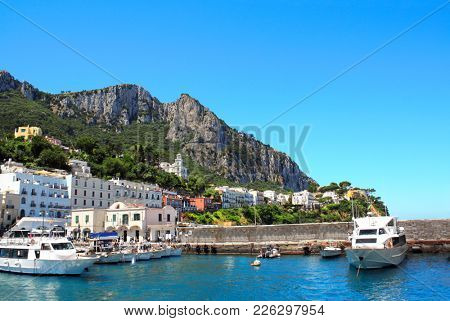 Yachts and boats at Marina Grande port, Capri island, Tyrrhenian Sea, Campania, Italy
