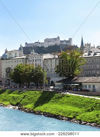 View of the city salzburg and Salzach river, Austria