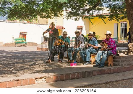Trinidad, Cuba - January 4, 2017: Afrocuban Musicians Playing On The Street In The Unesco World Heri