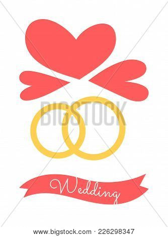 Wedding Poster With Rings As Symbols Of Eternal Love And Understanding, And Hearts With Title In Rib