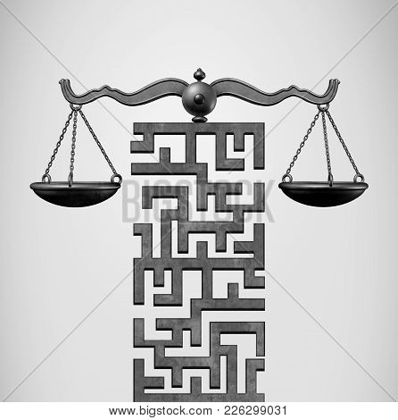 Justice Solution And Legal Direction Concept As A Justice Scale Shaped As A Maze Or Labyrinth As A 3