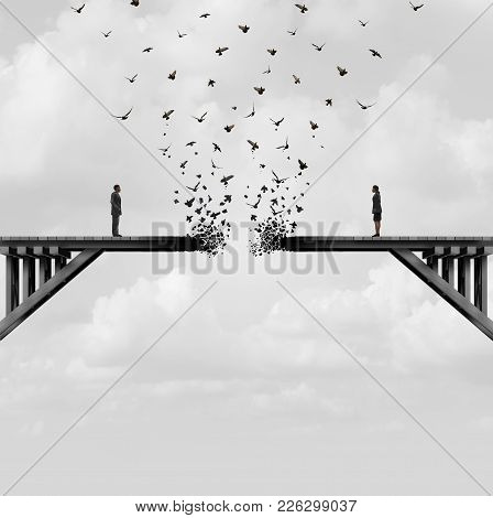 Divorce And Separation As A Couple On A Broken Fading Bridge Flying Away As A Divided Relationship C