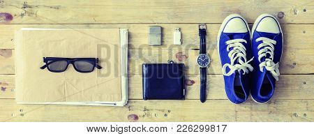 Outfit Of A Stylish Traveler Or A Freelance Journalist. Set Of Different Objects And Equipment: Albu