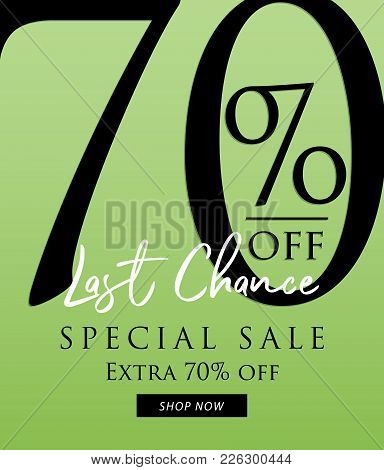 Special Sale 70 Percent Heading Design On Green Background For Banner Or Poster. Discounts Concept.