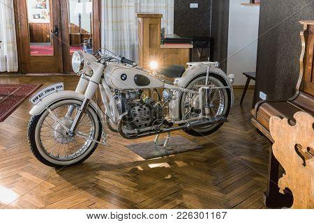 Lucni Bouda, Czech Rep - February 8, 2018. White Bmw R71 1939. Historical Motobike Bmw R71, Bayerisc