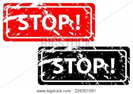 Stamp Stop - Vector Set - Black And Red