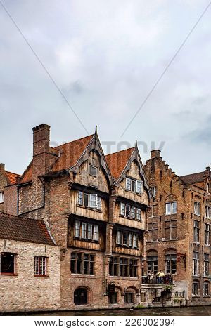 Bruges, Belgium - June 10, 2014: Facades Of Beauiful Medieval Buildings In Bruges, Belgium. Bruges I