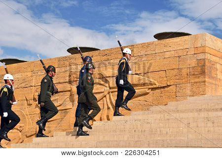 Ankara. Turkey - October 16, 2017: Ceremony Of Changing The Guard At The Mausoleum Of Ataturk.