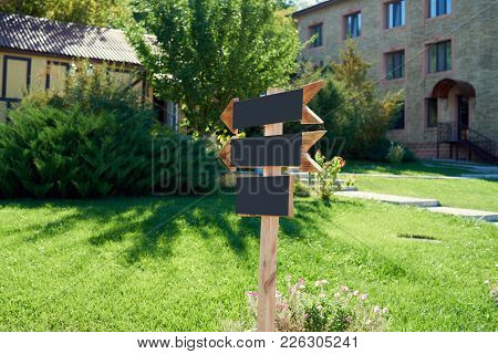 Blank Wooden Arrows Direction (road) Sign With 	 Spiderweb Outdoors, Copy Space. Empty Wedding Cerem