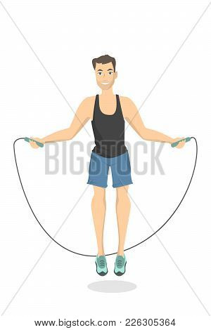 Man Doing Fitness. Jumping On Jump Rope.