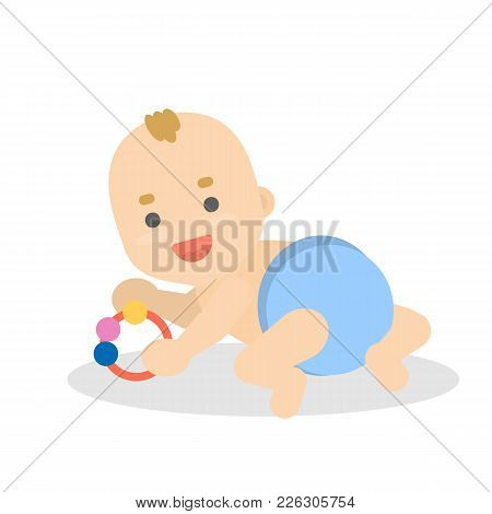 Baby Boy Playing And Crawling On White Background.
