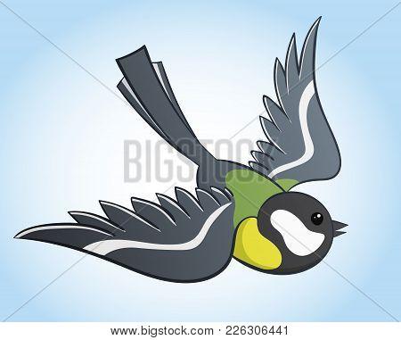Flying Big Titmouse, Simple Hand Drawn Vector Illustration