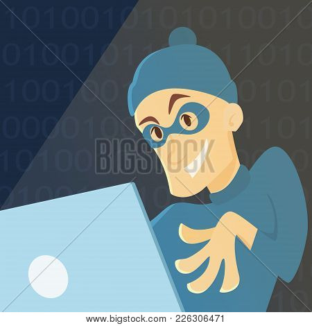 Hacker With Computer Stealing Information And Passwords.