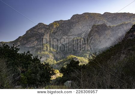 Lycian Trail In Turkey, A View Of The Mountains Filled With The Morning Sun, With An Incredibly Beau