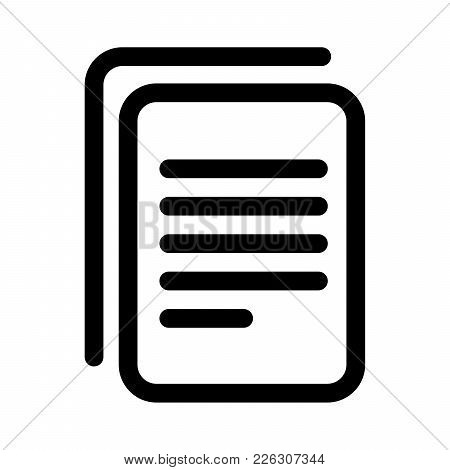 Document Copy Icon. Sheet Of Paper With Text. Outline Modern Design Element. Simple Black Flat Vecto
