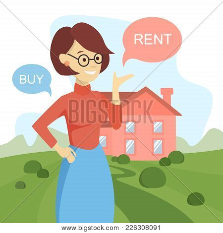 Buy Or Rent House. Woman Thinking And Deciding.