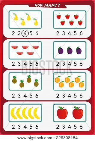 Worksheet For Preschool Children, Count The Number Of Objects, Learn The Numbers 1, 2, 3 4 5 6