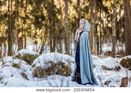 Fantasy Elf Girl In Spring In A Sunny Forest