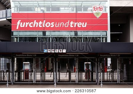 Stuttgart, Germany - February 03, 2018: The Barred Entrances To The Mercedes-benz Arena With Places
