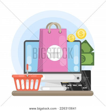 E-commerce Concept Illustration With Computer And Shopping Bag.
