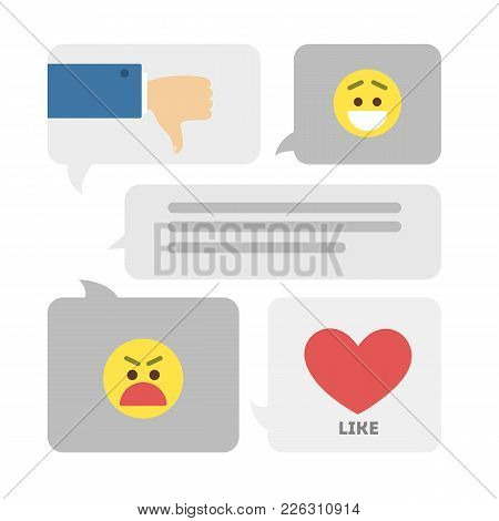 Feedback Icons Set. Smileys And Likes, Hearts And Thumbs Up.