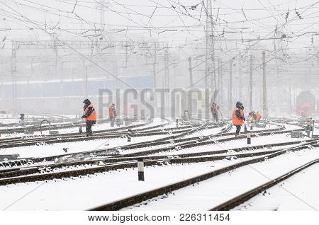 Cleaning Of Railroad Switch, In Railway Transport, From Snow.
