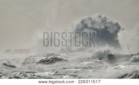 Rough Sea And Big Waves Breaking On The Rocks, Coast Of Telde, Gran Canaria, Canary Islands