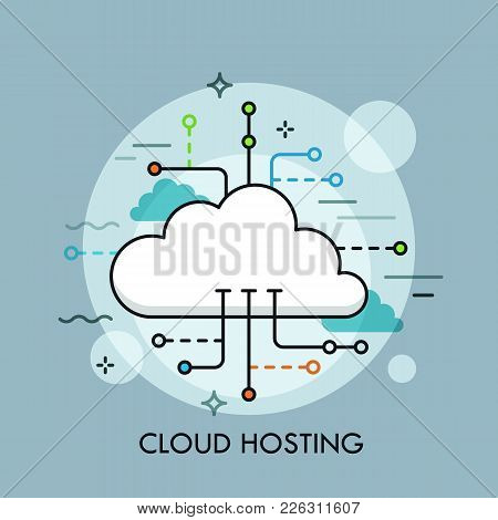 Concept Of Cloud Computing Service Or Technology, Big Data Storage And Hosting, Online File Download