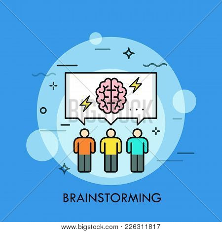 Three People And Speech Bubble With Brain And Lightning Symbols Inside. Concept Of Brainstorming Mee