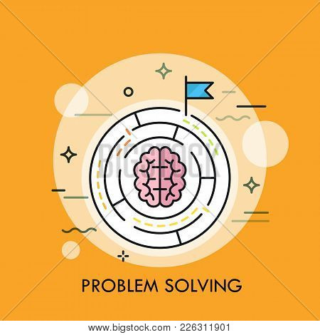 Brain Symbol Placed Inside Circular Maze. Concept Of Problem Solving Strategy, Business Challenge, M