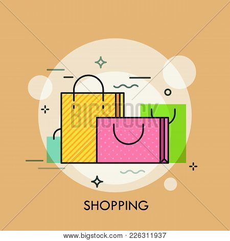 Colorful Paper Shopping Bags With Handles. Concept Of Buying Goods, Sales And Discounts, Online And