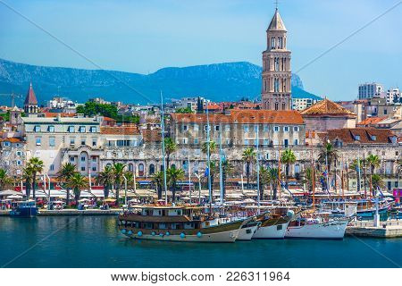 Seafront View At Old City Center In Split Town, Diocletian Palace View From The Adriatic Sea, Croati