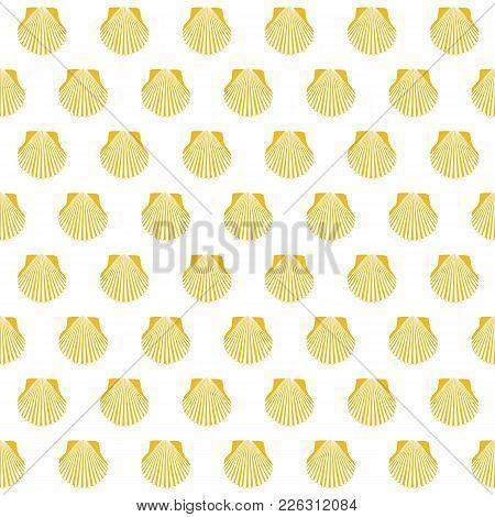 Yellow Scallop Shell. Camino Santiago Sign. Seamless Pattern. Pilgrims Navigation Sign. Symbol Of Th