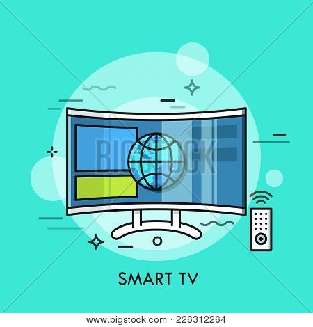 Hybrid Or Smart Tv Displaying Content From Website. Concept Of Television Set With Internet Connecti