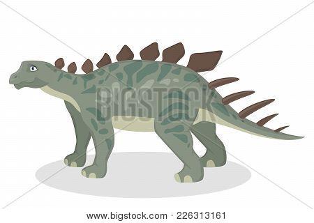 Kentrosaurus Dinosaur Isolated Ancient Creature On White.