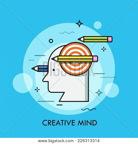 Silhouette Of Human Head, Shooting Target And Pencils. Concept Of Creative Mind, Smart Thinking, Cre