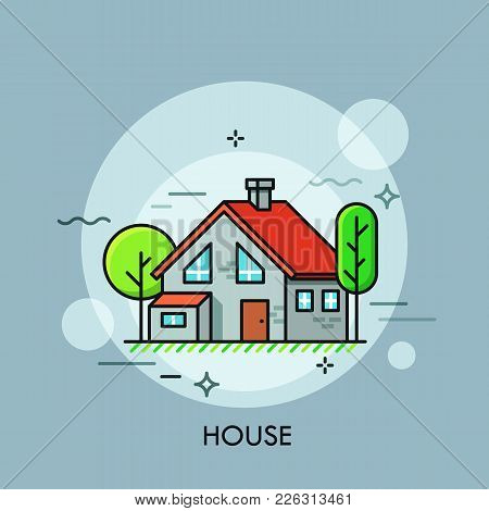 Two-storied House With Red Roof Surrounded By Green Trees. Concept Of Housing, Residential Building,